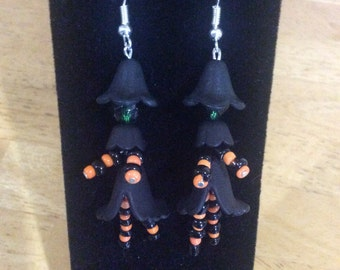 Little Witch Earrings with Orange