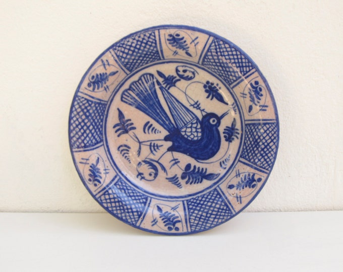 Vintage earthenware wall plate, folkart ceramic dish, clay fruitbowl, blue and white bird of paradise, vintage copy 17th cent. delft plate