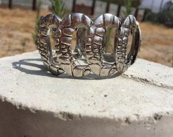 Silver Metal Snakeskin Bracelet