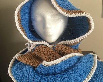 Gorgeous blue, brown and white crochet hooded scarf.