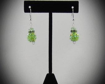Neon Green Rhinestone Earrings