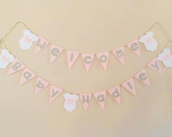 Welcome Baby Girl Baby Shower Banner (Pink, Gray, & White)