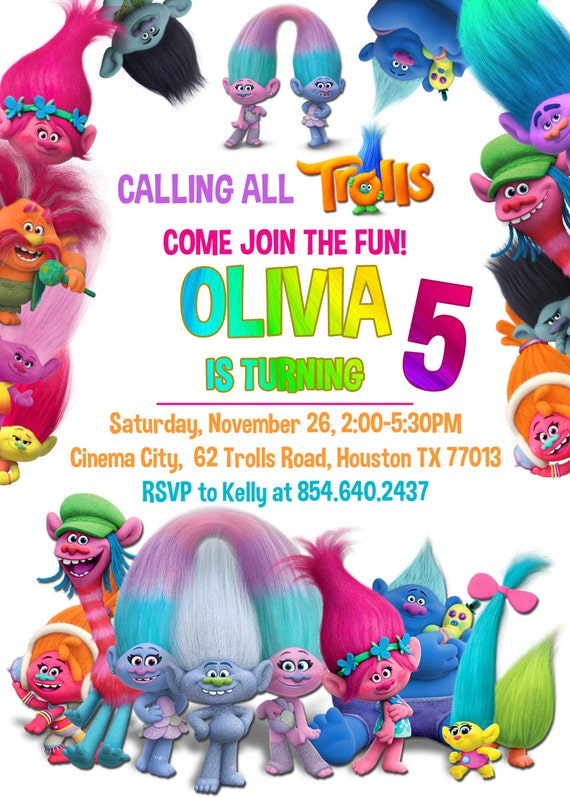 image relating to Trolls Printable Invitations identified as The Largest And Easiest Dreamworks Trolls Birthday Occasion