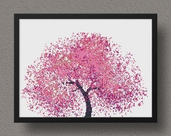 Pink Tree Cross Stitch Pattern, Tree PDF Pattern, Embroidery Instant Download, Cross Stitch Chart, Modern Cross Stitch Template, Nature