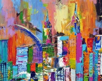 Original Abstract Art Painting Wall Art Modern Painting Expressionist Contemporary Art Acrylic Painting Canvas Painting Cityscape New York