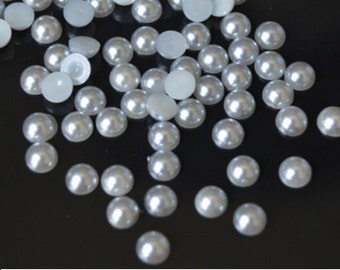 1000 LIGHT GREY Half Round Imitation *Pearl Beads*   2mm, 3mm, 4mm, 5mm.
