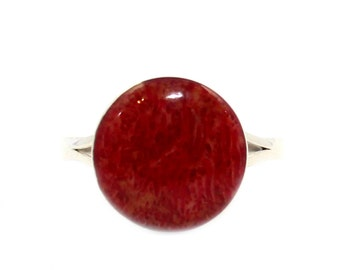 Genuine natural red coral ring solid 925 sterling silver 12mm