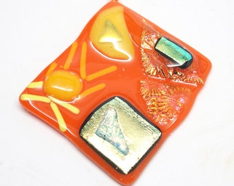 Dichroic Glass Square Pendant