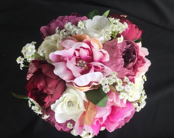 Purple Peonies Wedding Bridal Bouquet