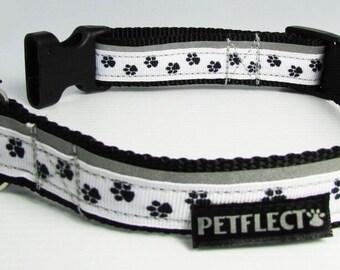 Paw Print Reflective Dog Collar
