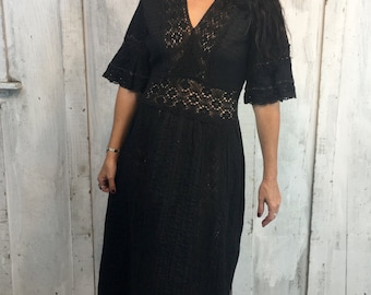 Vintage 60's Mexican Black Wedding Dress// Vintage Cotton Dress//Bohemian Maxi Dress