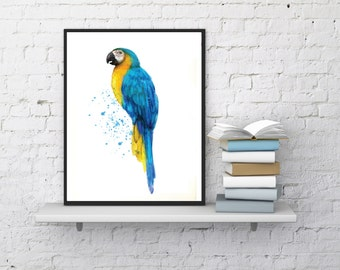 Parrot Art Print, Watercolor Parrot, Printable Bird Artwork - Parrot Art Download, Digital Parrot Art, Bird Wall Print, Instant Download