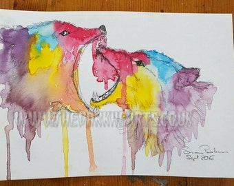 A3 print of primary wolves by Simon Parker