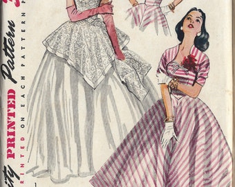 1952 Vintage Sewing Pattern B34 EVENING & DAY DRESS - Jacket (1223) Simplicity 4187