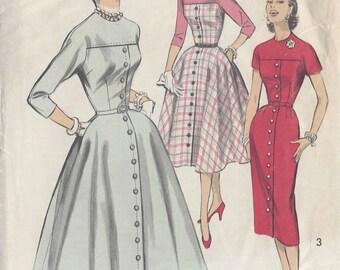 "1950s Vintage Sewing Pattern B34"" DRESS (R661) Advance 7888"