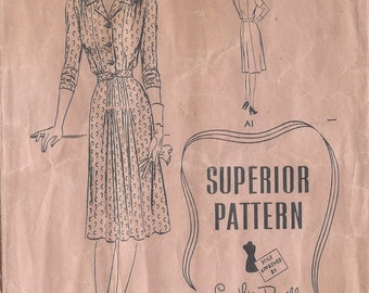 "1940s Vintage Sewing Pattern DRESS B40"" (73) Superior Patterns 9727"