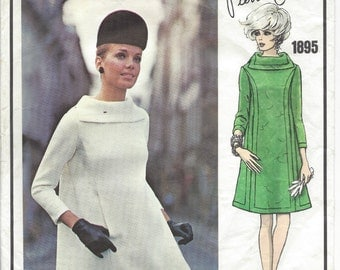 1968 Vintage VOGUE Sewing Pattern DRESS B34 (1501) By Pierre Cardin  Vogue 1895