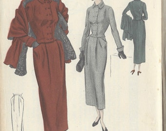 "1940s Vintage VOGUE Sewing Pattern B36"" Suit - Jacket - Skirt & Stole (R375) Vogue S-4927"