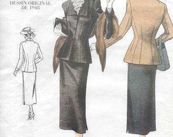 "Details about  1948 Vintage VOGUE Sewing Pattern JACKET & SKIRT B34""-36""-38"" (R398) Vogue 2339"