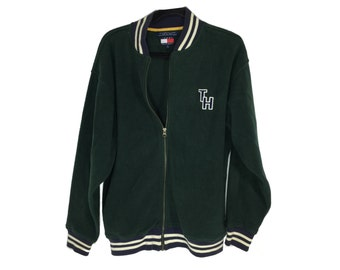 Tommy Hilfiger Fleece Jacket Collegiate Varsity Green Letterman