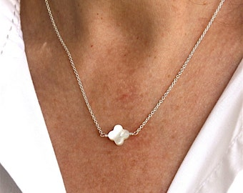 Pearl clover necklace on sterling silver chain