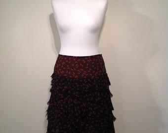 Woman boho JIGSAW skirt silk butterfly print