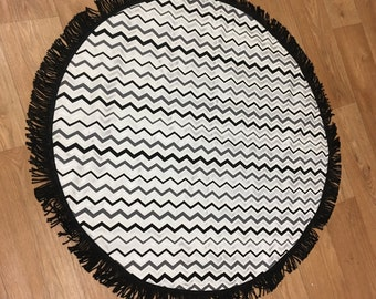 Baby Play Mat Black and Silver Chevron