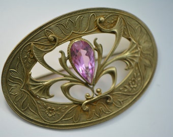 Victorian Sash Brooch with Large Pink Stone, Pink Glass Brooch, 1800s Brooch