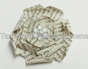 Book paper vintage look flat rose hairclip or brooch