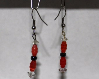 Orange With Clear and Black Bead Accents Dangle Earrings