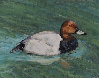 Duck Original Oil Painting Miniature on reclaimed Wood