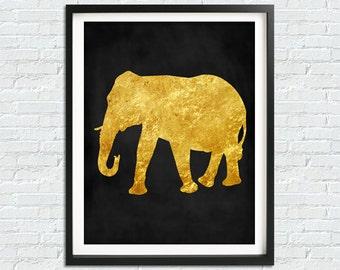 Gold Elephant Print, Elephant Wall Art, Modern Art Print, Black Gold Home Decor, Safari Art Print, Elephant Printable Art, Elephant Decor