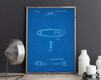 Patent Art Print Posters - Safty Pin Blueprints