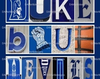 Duke Blue Devils  Alphabet Photo art