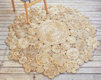 Jute Rug 150cm - Natural Coastal Hampton Bedroom Living Area Rug