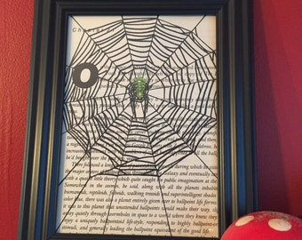 gifts for weirdos/gifts for goth/decor for spider lovers/arachnid/spider/web/decor/book page