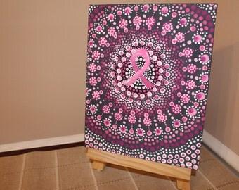 "Aboriginal Inspired Breast Cancer Pointilism Dot Mandala Canvas Painting 8""x10"""