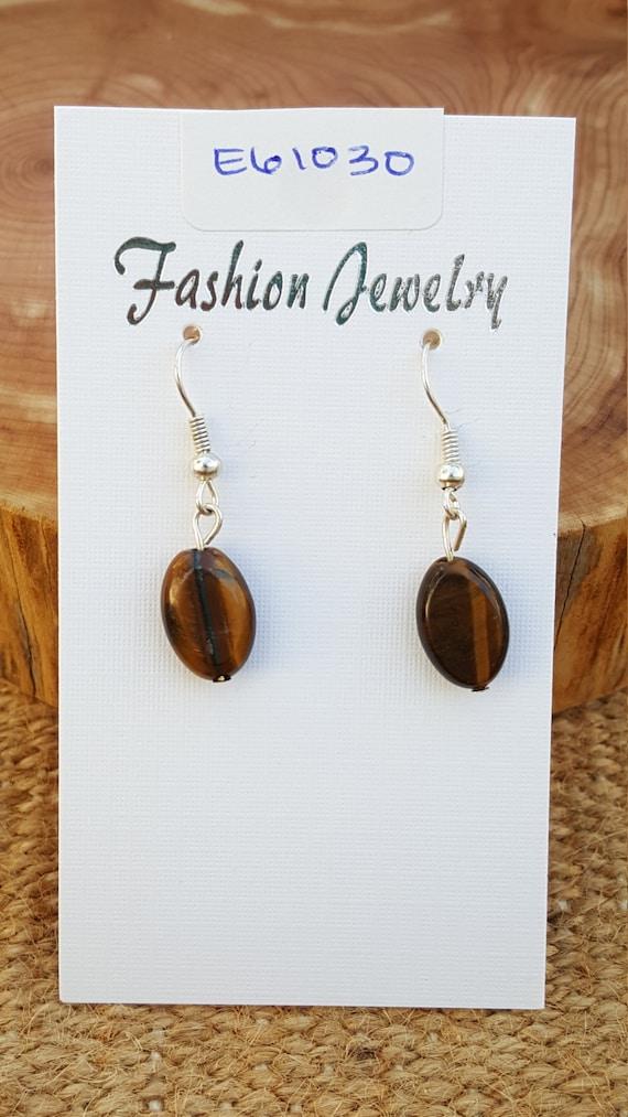 Brown Yellow Tigers Eye Earrings / Tigers Eye Earrings / Dangle Earrings / Stone Earrings / Hippie Earrings / Boho Jewelry /E61030