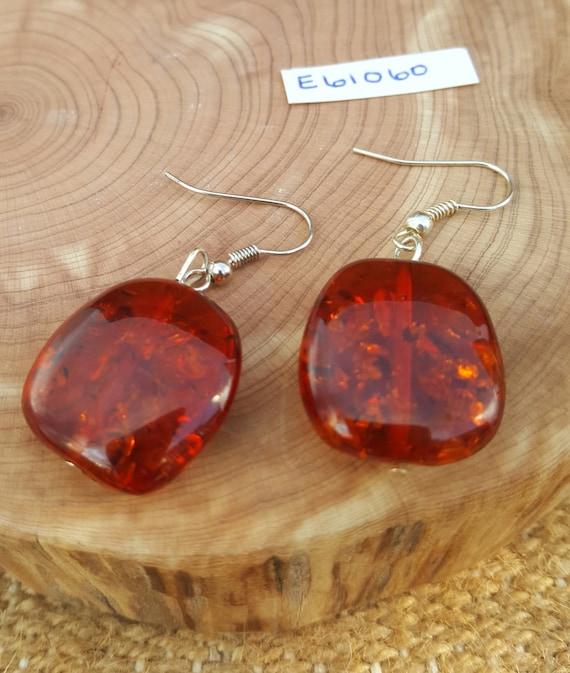 Dark Amber Earrings / Lab Created Amber Earrings / Dangle Earrings / Hippie Earrings / Boho Jewelry /E61060