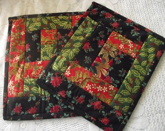 2 Handmade Quilted xmas doilies
