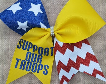 support our troops cheer bow american flag cheer bow military cheer bow military - Support Our Troops Silicone Bracelet