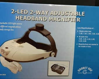 2-LED 2-Way Adjustable Headband Magnifier, Visor