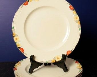 Vintage Alfred Meakin floral dinner plates. Set of 4. Raymond print
