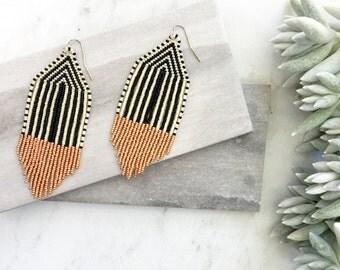 Beaded Fringe Earrings, Tassel Earrings, Boho Jewelry, Beaded Earrings, Gift for Her, Anthropologie Inspired