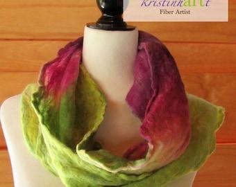 Green with Envy Scarf / Handmade Felted / Alpaca / Merino Wool / Green / Purple / Women's Gift Idea / Cobweb / Longt / Art / Light Weight