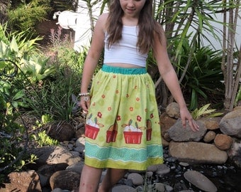 Girls, tweens summer, spring skirt in fruit  and floral print, gathered with self border.
