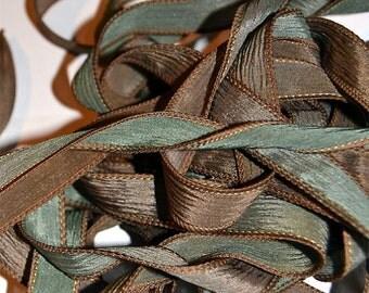 """1PC. GREEN TEA 42"""" hand dyed wrist wrap bracelet silk ribbon//Yoga wrist wrap bracelet ribbons//Hand dyed Boho Silk wrist wrap ribbon"""