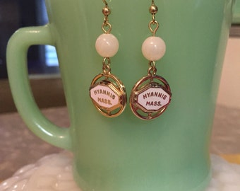 Vintage charms made into earrings-Hyannis Mass
