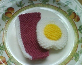 hand knitted bacon and egg