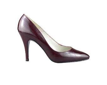 Bally Burgundy Stiletto Court Shoes UK 5